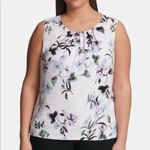 Calvin Klein Plus Size Printed Pleat Neck top 1X